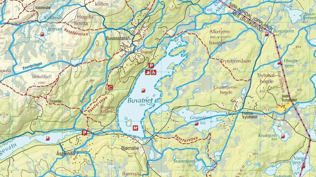 kart vei Nytt kart på vei – Buvasstølan sti  og løypelag kart vei